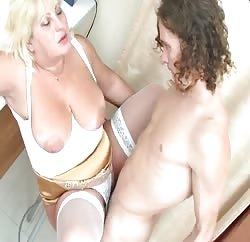 Fat Russian MILF and her hung young lover