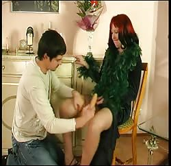 Russian granny and a young guy in naughty scenes