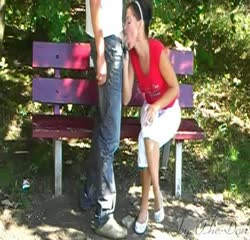 Horny wife blows a stranger in the park