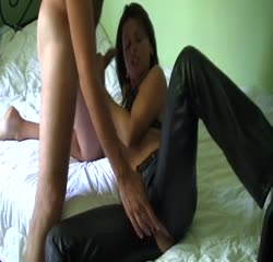 Black leather goddess has naughty sex